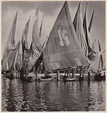 D4990 Barche da pesca Chioggiotte - Stampa d'epoca - 1938 vintage print