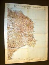 Grande carta geografica del 1909 Catanzaro, Crotone, Strongoli Calabria T.C.I.