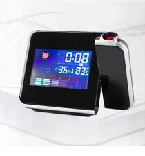 LED Laser Beam Projection Clock Alarm Snooze Light Temperature Humidity v_e