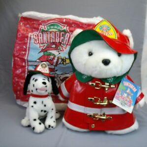 Santa Bear 1996 firefighter Dayton Hudson plush dalmatian puppy and original bag