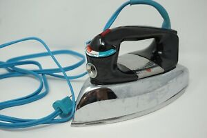 Vintage 1960's GE General Electric Chrome Steam Iron H3F63 Works Great Blue Wire