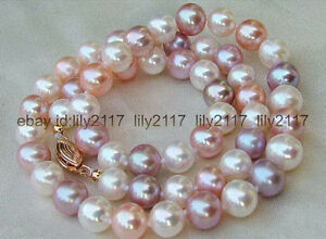 Genuine 7-8mm Natural Multi-color Freshwater Cultured Pearl Necklaces 18''