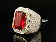 Mens .925 Sterling Silver Royal Red Ruby Lab Diamond Designer Ring