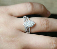 3.60Ct White Marquise Stone Bridal Engagement Ring Set In 925 Sterling Silver