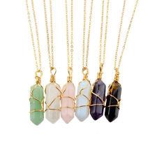 Natural Crystal Quartz Stone Pendant Chakra Healing Gemstone Necklace Gold Chain