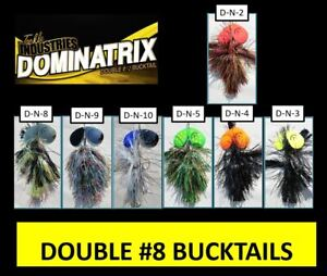 "2-BULK 9"" Double #8 Bucktail Muskie Musky Lure Northern Pike Bait Bass Cowgirl"