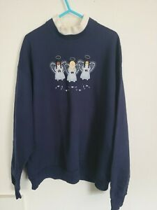 Womens Vintage Christmas Angels Jumper/Pullover Large Thrift