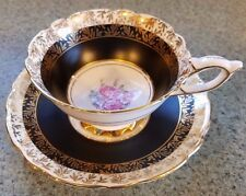 Royal Stafford England Bone China Footed Cup Saucer Black Gold Pink Floral Nice!