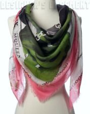 """ALEXANDER MCQUEEN pink PANTHER SKULL CHAINS  modal/silk 54"""" scarf NEW Auth $570!"""