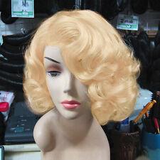 Short Blond Curly Wig Cosplay Marilyn Monroe Hair Costume Full Wigs Fashion