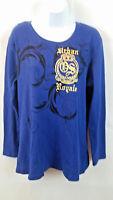 Old Skool Women's Long Sleeve Embellished T-shirt Blue Urban Royal Size 1X NWT