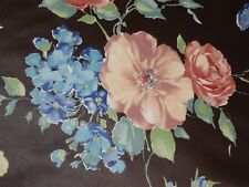 Interior Fabric Design Aubergine Hybrid Mandevilla Flowers Peonies Chintz Fabric