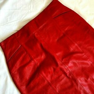 Wilsons Red Leather Skirt 28 High Waist Multi Pocket Pencil Wiggle Sexy