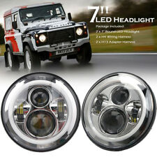 "PAIR 7"" LED HALO HEADLIGHTS E MARKED RHD FOR LAND ROVER DEFENDER 110 90 CHROME"