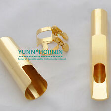 Genuine Jazz Tenor Sax Bb Saxophone Metal Mouthpiece Gold Plated Cap Ligature #7