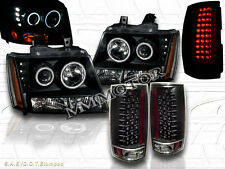 2007-2012 CHEVY TAHOE SUBURBAN CCFL HALO PROJECTOR HEADLIGHTS + LED TAIL LIGHTS