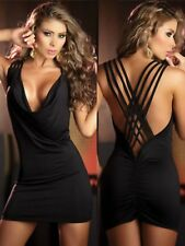 Sz 8 10 Black Sleeveless Party Slim Fit Formal Casual Bodycon Cocktail MiniDress