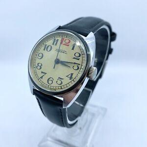 "Vintage Russian Made Wristwatch Raketa 2609 Classic Red ""12"" 1990s"