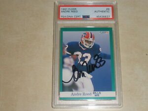 1991 Fleer Football Autograph Auto ANDRE REED PSA/DNA CERTIFIED