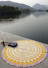 Indian Handmade Round Ombre Mandala Tapestry Hippie Table Cloth Ethnic Yoga Mat
