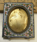 VINTAGE+ANTIQUE+MINIATURE+MICRO+MOSAIC+%26+BRASS+PICTURE+FRAME+ITALY+W%2FEASEL+BACK
