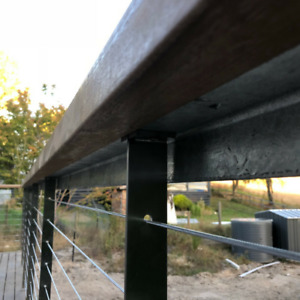 Flat Bar Intermediate Post 960mm Stainless Steel 316 Wire Balustrade Handrail
