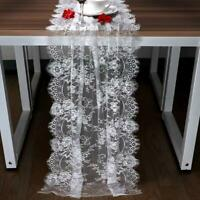 White Lace Table Runner Overlay Cover Chair Sash Wedding Reception Table Decor