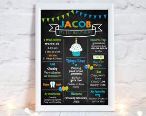 Printable Boys Milestone Poster Stat 1st Birthday AnyAge Chalkboard Cupcake Blue