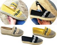 NEW Women Lady ESPADRILLE Platfrom LOVE Summer Holiday Beach Shoes Floafers