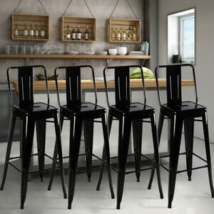 Industrial Metal High Bar Stools Table Chairs Set Cafe Bistro Breakfast Dinner