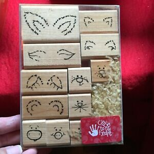 BarnYard Kids Cow Pig Rabbit Mouse Rubber Stamp New in box