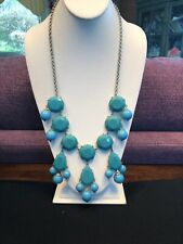 Vintage Necklace Silver Bib statement turquoise Lucite beaded Extra long 24""