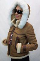 GENUINE 100% Sheepskin Shearling Leather Real Silver Fox Hood Coat Jacket XS-6XL