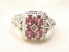 Estate Vintage Sterling Silver CNA Signed Garnet & Diamond Filigree Ring