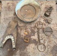 Lot Steampunk Art Vintage Barn Farm Rusty Metal Milk Can Lid Boot Scraper Bits👀