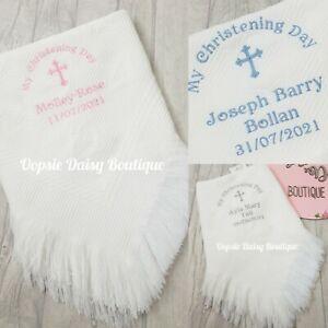 Personalised Christening Day Shawl Blanket Dandelion Baby 💗💙