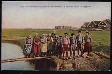 Vintage Antique Postcard Children Eiland Marken Fishing Town in Holland