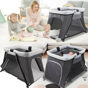 Foldable Travel Cot w/ Mattress Bedside Sleeping Crib Baby Bed Sleeper Bassinet