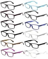 New Clear Lens Glasses Rectangular Frame Spring Hinge Fake Eyewear UV 100%