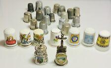 Lot Of 26 Vintage Thimbles Collectible Pieces Porcelain Metal. (2297).