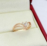 Edel Damen Ring Rose Gold 18K pl. Kristall Verlobungsring Geschenk Valentinstag!