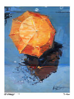"Orange Umbrella In Paris Rain  16X12"" Impressionist Giclee, Print, 75, Artist"