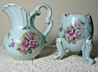 EUC Vintage INARCO Ceramic Creamer Pitcher & Cracked Egg Shaped Bowl Blue Floral