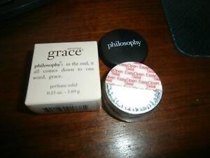 NEW NIB TWO SEALED Amazing Grace Philosphy 3.69g/0.13 oz Solid Perfume TRAVEL SZ
