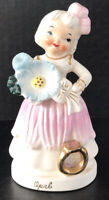 Vintage Napco Girl Figurine October Opal Birthstone