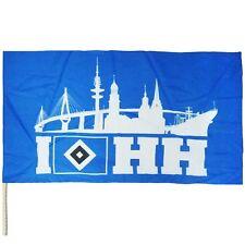 HSV Hamburger SV Stockfahne Hamburg Skyline HSV Logo Raute Fahne 120 x 80 Neu