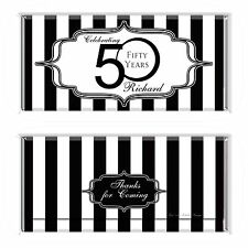 50th Birthday Black & White Personalised Chocolate Wrapper Gloss 4x6