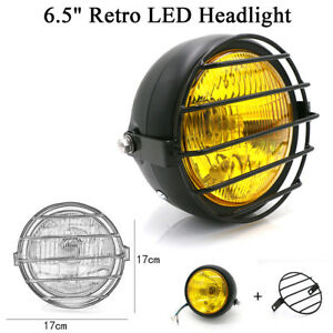 "6.5"" Retro LED Headlight Grill Side Mount Cover W/ Bracket Cafe Racer Motorcycle"