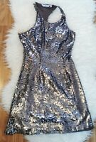 New Look Women's Dress Silver Size 8 Metallic Shiny Party VGC