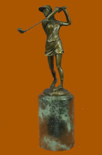 Golf Lover Birthday Day Female Golfer Club Bag Bronze Marble Sculpture Statue